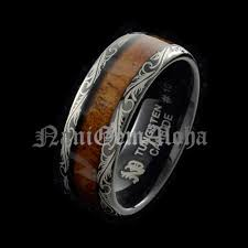 Hawaiian Wedding Rings by Koa Wood Hawaiian Wedding Band Ring Black Tungsten Scroll Design