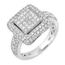 wedding ring depot 1 68ct tcw 14k white gold cluster engagement ring 4003539 shop