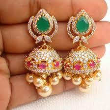 buy jhumka earrings online ruby emerald lovely jhumka online jewellery