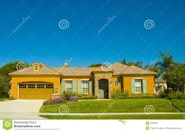 Single Story House Ideal Single Story House In A Perfect Community Stock Image