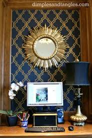 dramatic navy walls u0026 ceiling plus gold painted lattice