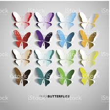 set of colorful paper butterfly designs stock vector more