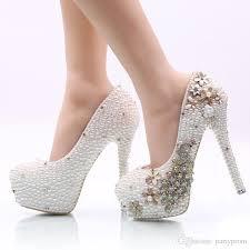 wedding shoes nyc 2017 white pearl wedding shoes high heel rhinestone