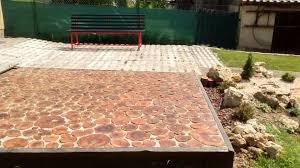 Wood Patio Flooring by Cordwood Patio Floor In Slovakia Cordwood Construction