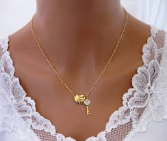 heart key necklace images Crystal heart and key necklace jpg