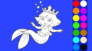 dora the explorer rainbow mermaid coloring pages learn colors