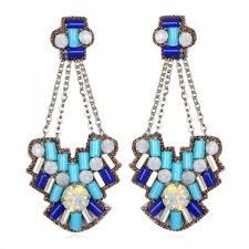 blue chandelier earrings aegean chandelier earrings turquoise blue white beaded lightweight
