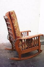 antique american tiger oak morris arm chair recliner rocker