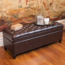 living room brown bonded leather storage ottoman made of