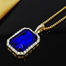 gold blue stone necklace images 2017 new bling faux lab blue stone pendant necklace gold color jpg