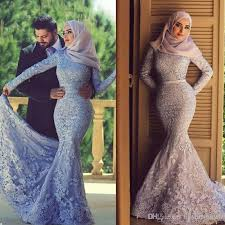 islamic wedding dresses 2017 muslim wedding dresses lace sleeves mermaid high neck