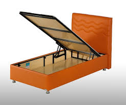 orange leather single bed frame with lift top matress base board