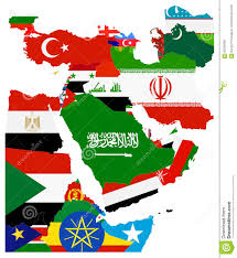 Middle East Map Flag Map Of The Middle East Stock Vector Image 65526680