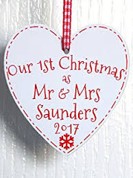 Personalised Metal Christmas Tree Decorations by Personalised Couples 1st First Christmas Hanging Metal Heart Tree