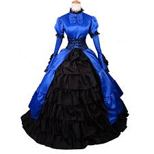 19 Century Halloween Costumes Aliexpress Buy Royal Blue Southern Belle Costume 19th