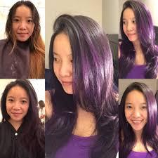 dark purple plum ombré on natural dark hair with purple
