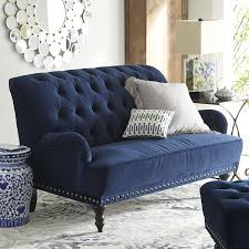 Sofa Navy Pier Chas Navy Blue Velvet Loveseat Blue Rooms Nailhead Trim And Room