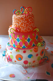 birthday cake pink orange blue green love the colors that is