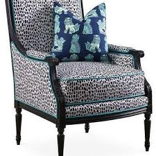 Pattern Chairs Baxton Studio Blue And White Upholstered Chair