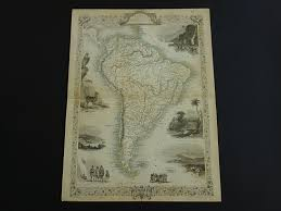 Patagonia South America Map by South America Map 1851 Original Antique Map Of South America