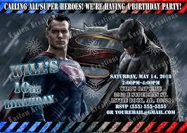batman v superman dawn of justice birthday invitations kustom