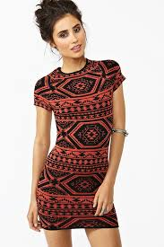 tribal dress gal tribal knit dress in orange lyst