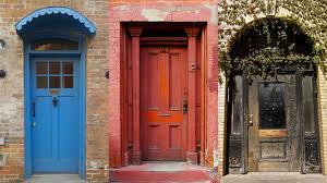 Blue House Orange Door Doors Of Nyc Pops Of Color Intricate Work And Old Time Charm