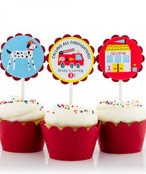 firefighter cupcake toppers truck birthday party cupcake toppers
