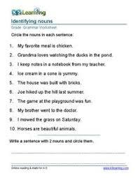 identifying nouns grade 2 2nd grade worksheet lesson planet