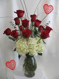 dozen of roses dozen roses white hydrangeas for valentines day