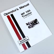 massey ferguson mf 180 tractor owners operators manual book