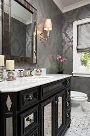 bathroom black and white bathroom with crystal chandelier also