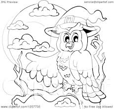 Halloween Owl Clip Art by Cartoon Of An Outlined Halloween Owl Wearing A Witch Hat And