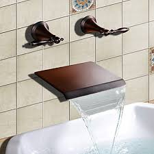 rubbed bronze finish waterfall widespread bathtub faucet