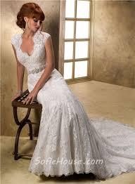 mermaid cap sleeve scalloped v neck keyhole back lace wedding