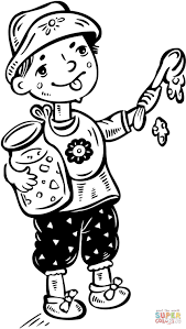 little boy making dripping food on the floor coloring page free