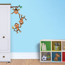 vibrant hot air balloon ride wall decal for kids funky monkey chain team wall decal for kids