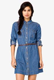 forever 21 denim shirt dress w belt