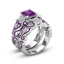 rings jewelry love images H hyde 2pc lot silver color jewelry purple cz heart love rings for jpg