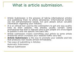 basic use and process of article submission