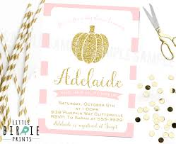 fall pumpkin baby shower invitation gold and pink baby shower