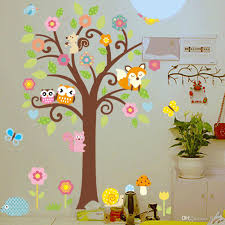 Cheap Nursery Wall Decals by Removable Large Tree Wall Stickers For Children Room Animals