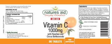 natures aid low acid vitamin c 1000mg tablets 90 capsules
