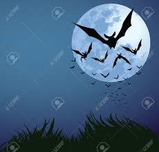 illustrations of halloween night with bats flying over blue moon