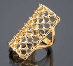 large ladies rings images Beautiful crystal net grid hollow out ring large and long gold jpg