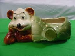 vintage bear in log ceramic pottery planter u2022 9 99 picclick