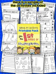 back to activities for the first weeks of kindergarten by