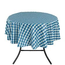 berrnour home 55 in round indoor and outdoor blue checkered