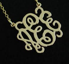 Three Initial Monogram Necklace Handmade Monogram Necklace 3 Initial Necklace 18k Gold Sterling