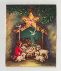 vintage greeting card religious nativity animals manger